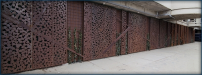 Laser gesneden patroon in CorTen plaat