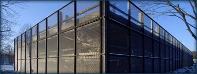 Expanded metal panels on frame for parking garage